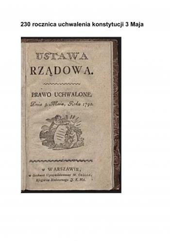 230 rocznica uchwalenia konstytucji 3 Maja-1