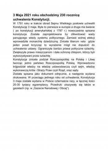 230 rocznica uchwalenia konstytucji 3 Maja-2